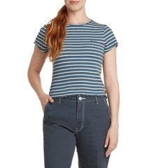 dickies stripe lettuce edge rib t-shirt, size x-small in cream blue stripe at nordstrom