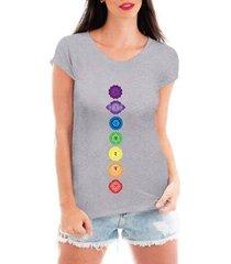 camiseta criativa urbana 7 chakras esotérica equilíbrio feminina