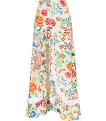 all things mochi clara ruffled floral-print maxi skirt - white