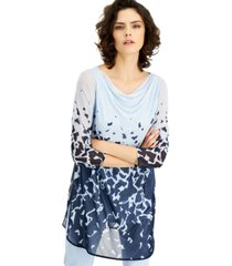 alfani cowlneck abstract-print tunic, created for macy's