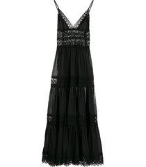 charo ruiz ibiza cindy crochet-trimmed maxi dress - black