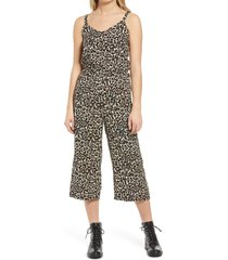 vero moda simply easy floral culotte jumpsuit, size large in linea oatmeal animal at nordstrom