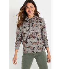 maurices womens lakeside cozy gray floral sweatshirt green