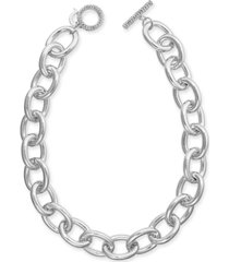 """thalia sodi silver-tone pave large link 18"""" collar necklace, created for macy's"""