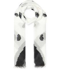 'dimitri' graphic print fringe hem scarf