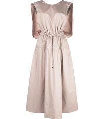 tibi poplin cape dress - brown