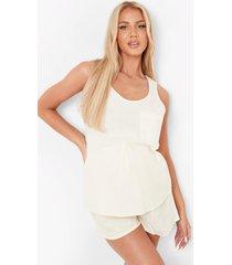 zwangerschap seersucker pyjama set met hemdje en shorts, beige