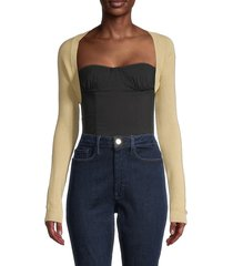 danielle bernstein women's cropped open-front cardigan - black - size xs