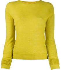 rick owens round neck ribbed-knit pullover - yellow