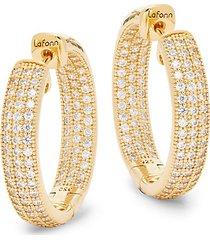 goldplated simulated diamond hoop earrings