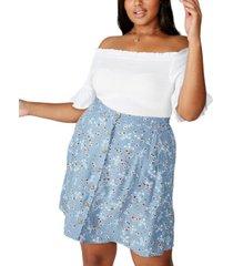 cotton on curve allegra button through mini skirt