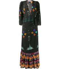 jessie western star print wrap dress - black