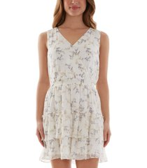 bcx juniors' floral-print flounce fit & flare dress