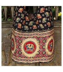 cotton shoulder bag, 'black thai universe' (thailand)