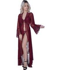 robe lámour longo yasmin lingerie manga comprida sensuale vinho