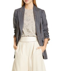 women's brunello cucinelli sequin stripe belted blazer, size 4 us / 40 it - grey