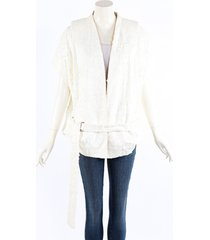 ann demeulemeester cream wool cotton belted vest jacket cream sz: s