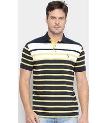 camisa polo aleatory fio tinto listras bicolor masculina