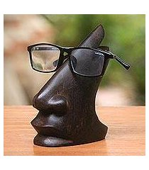 wood eyeglasses stand, 'prominent nose in dark brown' (indonesia)