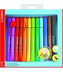 12 x stabilo cappi felt tip fibre tip pens with cap ring
