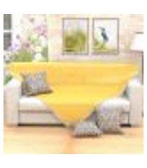 manta decorativa de sofá amarela 1,50m x 1,50m + 3 almofadas decorativas 45cm x 45cm com refil