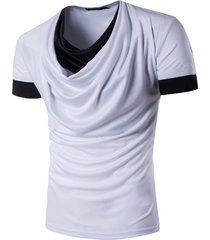camiseta de manga corta de tops hombre cuello alto de mangas largas