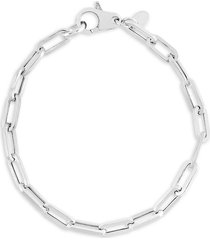 chloe & madison women's rhodium-plated sterling silver paperclip chain bracelet