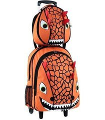 kit infantil mochila com rodinhas mumagi + lancheira dinossauro masculino