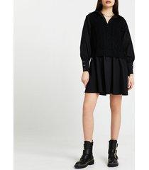 river island womens black cable knit tank dress