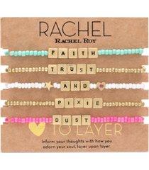 rachel rachel roy gold-tone 5-pc. set faith, trust & pixie dust beaded stretch bracelets