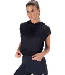 blusa cropped com capuz oxer mesh dupla face - feminina - preto