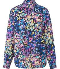 blouse met lange mouwen en staande kraag van uta raasch multicolour