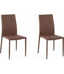 conjunto 02 cadeiras amanda tecido café