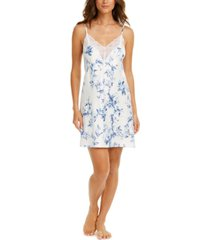 linea donatella aviary lace-trim floral-print satin chemise nightgown