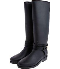 botas de lluvia impermeable golden buckle bottplie - negro