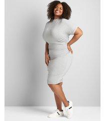 lane bryant women's mock-neck ruched-side sheath dress 18/20 light heather grey