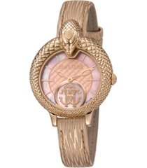 roberto cavalli by franck muller women's swiss quartz metallic rose calfskin leather strap watch, 34mm