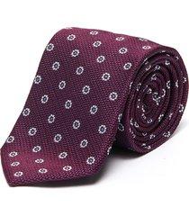 jacquard floral print silk tie