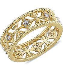 saks fifth avenue women's 14k yellow gold & diamond lace ring/size 9 - size 9