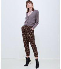 motivi pantaloni paper bag fantasia floreale donna nero