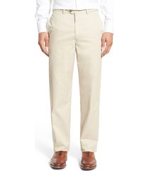 men's big & tall nordstrom men's shop smartcare(tm) classic supima cotton flat front straight leg dress pants, size 44 x 30 - brown