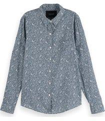 scotch & soda 161492 0218 printed regular fit shirt in organic cotton mix combo b