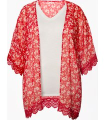 maurices plus size womens ditsy floral crochet trim open front kimono red