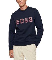 boss men's logo organic cotton sweatshirt
