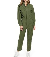 women's citizens of humanity marta long sleeve cotton twill utility jumpsuit, size small - green