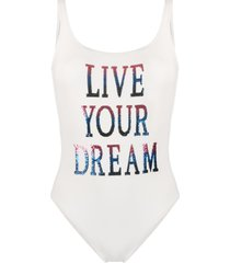 alberta ferretti sequin slogan swimsuit - white