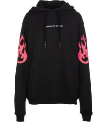 vision of super man black hoodie with fluo pink flame