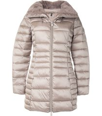 save the duck synthetic fur reversible long quilted jacket - brown