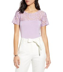 women's halogen floral lace yoke top, size x-small - purple
