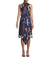mixed floral-print silk-blend midi dress